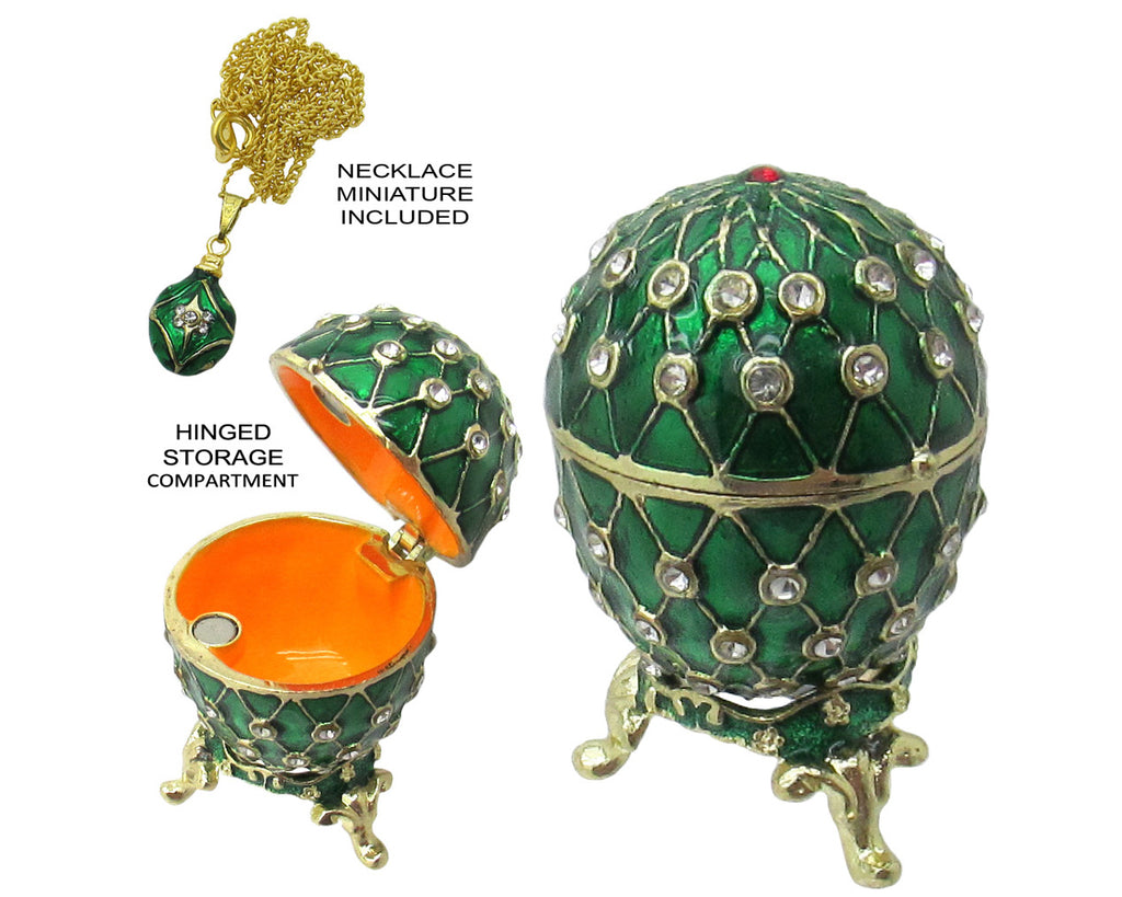 Mini Egg Jeweled Trinket Box, with SWAROVSKI Crystals, Green