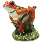 Tree Frog Jeweled Trinket Box with Austrian Crystals