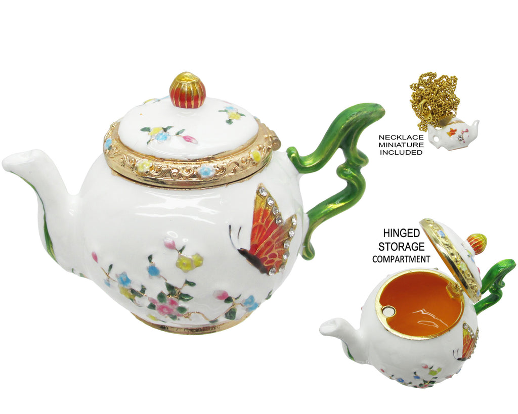 Teapot Jeweled Trinket Box with Austrian Crystals