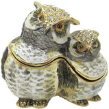 Mama & Baby Owl Jeweled Trinket Box with Austrian Crystals