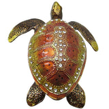 Sea Turtle Jeweled Trinket Box with Austrian Crystals, Brown