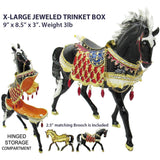 X-Large Horse Jeweled Trinket Box with Austrian Crystals, Black