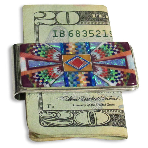 Money Clip, Native American Zuni Multi Stone Inlay, #01