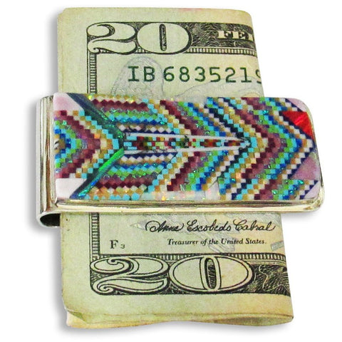 Money Clip, Native American Zuni Multi Stone Inlay, #03