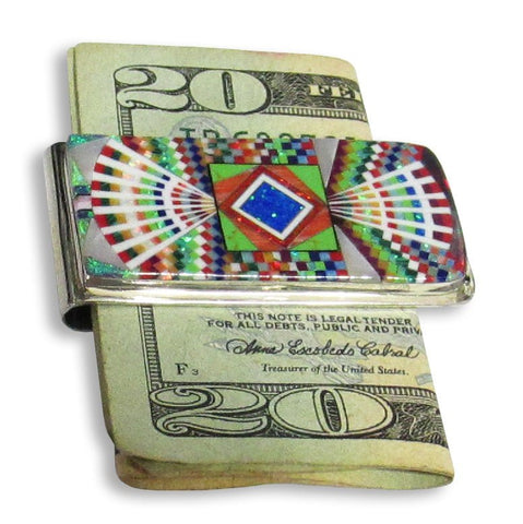 Money Clip, Native American Zuni Multi Stone Inlay, #04