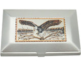 Southwestern Card Holder, Diamond Cut Copper Medallion Inlay, Eagle