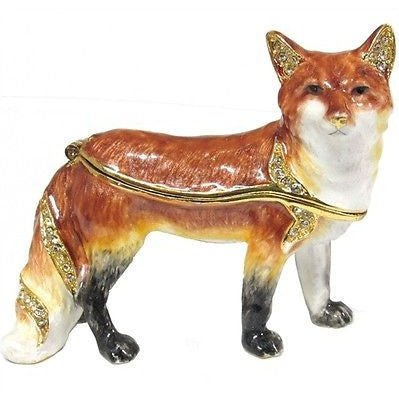 Red Fox Jeweled Trinket Box with SWAROVSKI Crystals