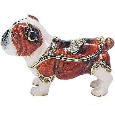 Bulldog (English) Jeweled Trinket Box with SWAROVSKI Crystals, by RUCINNI