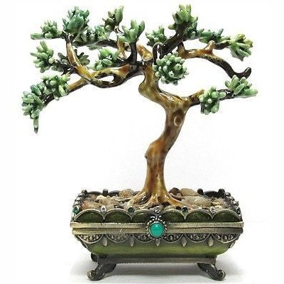Bonsai Tree Plant Jeweled Trinket Box with SWAROVSKI Crystals