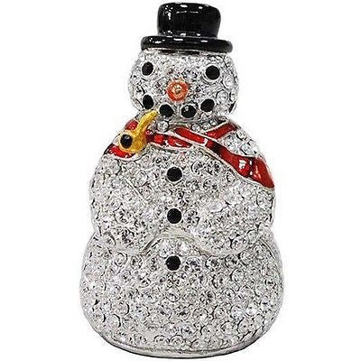 Snowman Jeweled Trinket Box with SWAROVSKI Crystals, by RUCINNI, Red