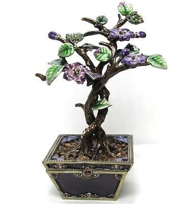 Bonsai Tree, Purple Jeweled Trinket Box with SWAROVSKI Crystals