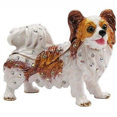Dog (Papillon) Jeweled Trinket Box with SWAROVSKI Crystals, by RUCINNI