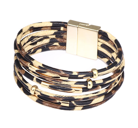 Multi-Layer Wrap Bracelet, Magnetic Clasp, Leopard Print, Gold/Brown
