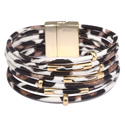 Multi-Layer Wrap Bracelet, Magnetic Clasp, Leopard Print, White/Brown
