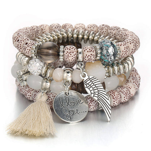Tassel Love Bracelet Set, 4pc, Beige