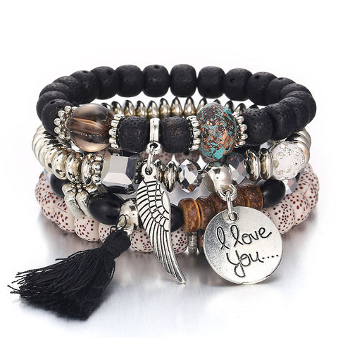 Tassel Love Bracelet Set, 4pc, Black