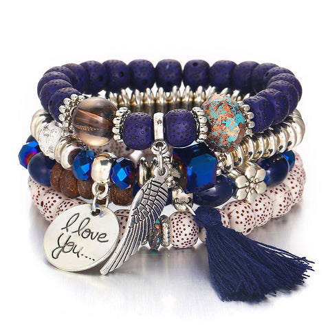 Tassel Love Bracelet Set, 4pc, Blue