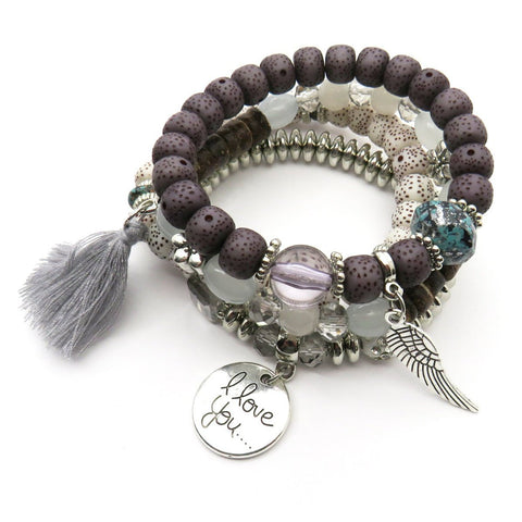 Tassel Love Bracelet Set, 4pc, Grey