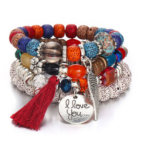 Tassel Love Bracelet Set, 4pc, Multicolor