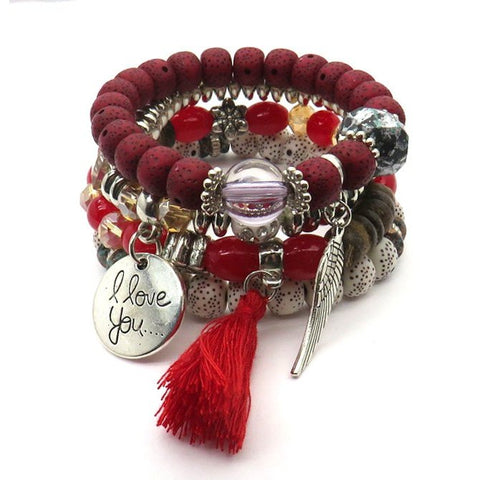 Tassel Love Bracelet Set, 4pc, Red