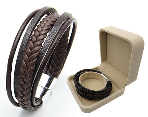 Leather Multilayer Magnetic-Clasp Braided Wrap Bracelet in Gift Box, Brown