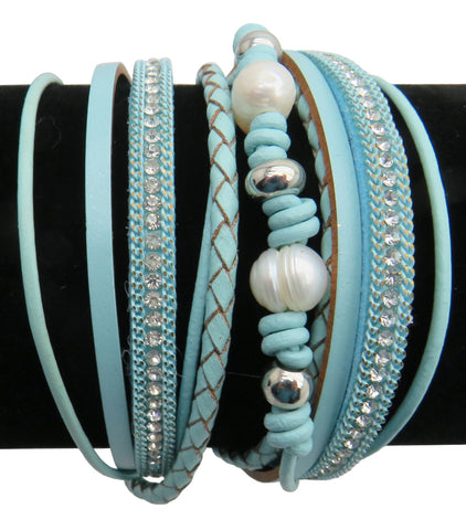 Leather, Crystals, & Pearls Wrap Bracelet, Magnetic Clasp, Baby Blue