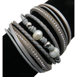 Leather, Crystals, & Pearls Wrap Bracelet, Magnetic Clasp, Grey