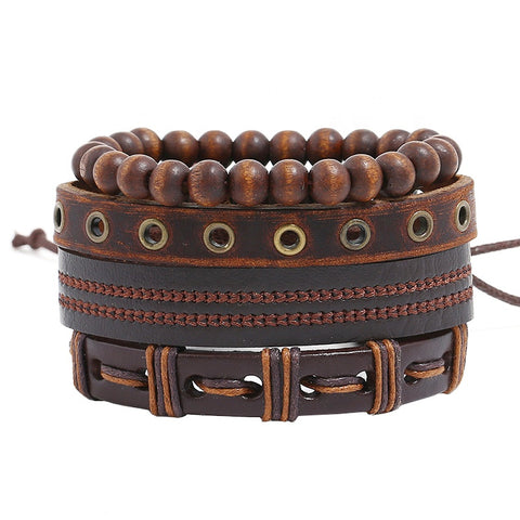 Bracelet Set, Leather & Wood Beads, 4pc.