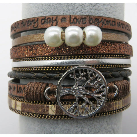 Tree of Life Multi Layer Leather Wrap Bracelet, Magnetic Clasp, Brown