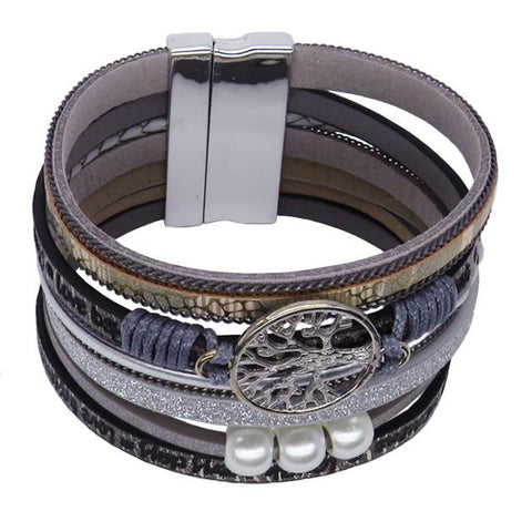 Tree of Life Multi Layer Leather Wrap Bracelet, Magnetic Clasp, Grey