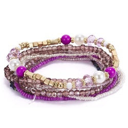 Bracelet Set, Crystal Seed Beads, Boho, 9pc, Purple