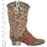 Cowboy Boot with Swarovski Crystals Beige & Pink, 3.75""