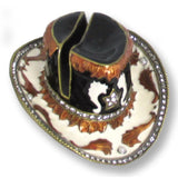 Cowboy Hat with Swarovski Crystals Black, White & Brown