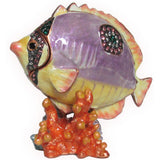 Fish on Coral Jeweled Trinket Box with SWAROVSKI Crystals, by RUCINNI