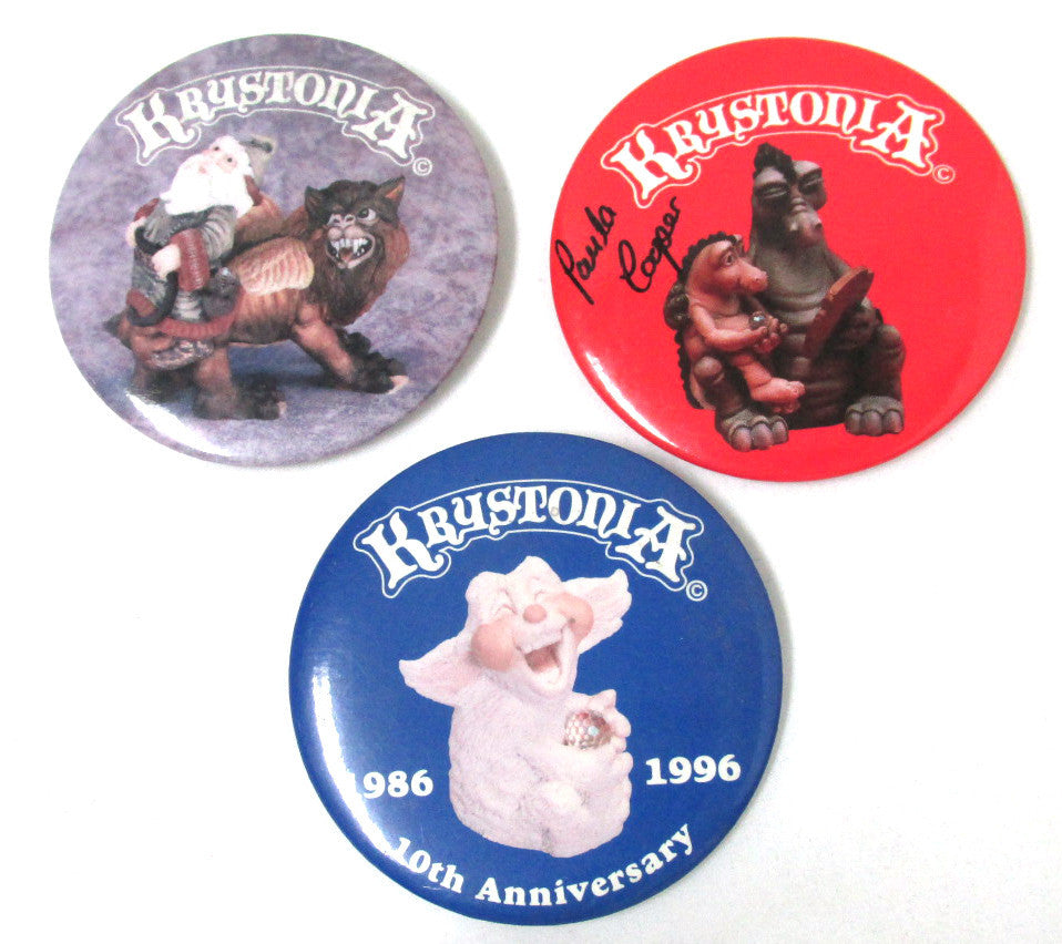 Krystonia Pin-back Buttons, Set of 3