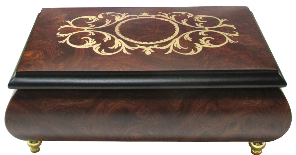 "Sorrento Music Box, 6.5"", Arabesque Inlay, Matte Elm"