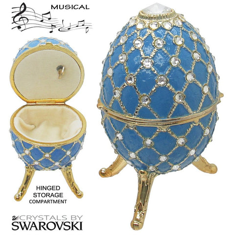 Musical Jewelry and Trinket Box with Swarovski Crystals, Gold/Blue
