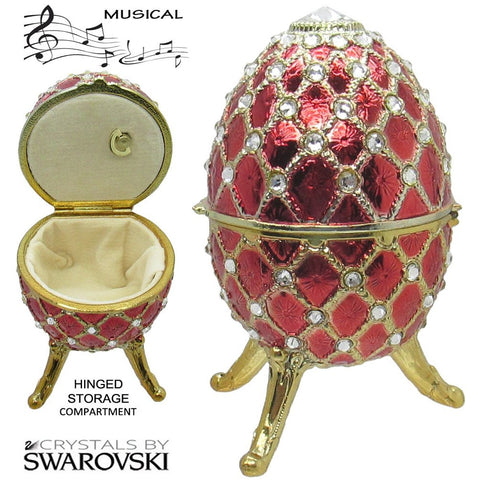 Musical Jewelry and Trinket Box with Swarovski Crystals, Gold/Red