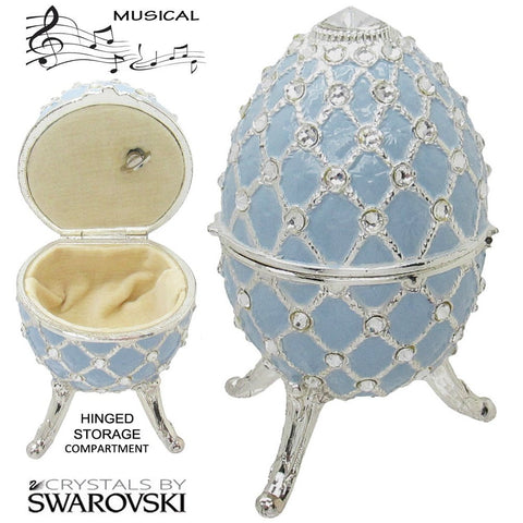 Musical Jewelry and Trinket Box with Swarovski Crystals, Silver/Baby blue
