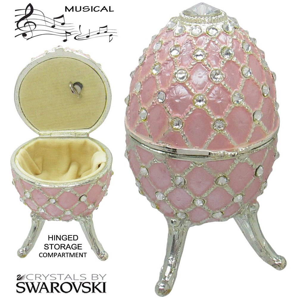 Musical Jewelry and Trinket Box with Swarovski Crystals, Silver/Light Pink