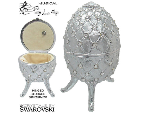 Musical Jewelry and Trinket Box with Swarovski Crystals, Platinum