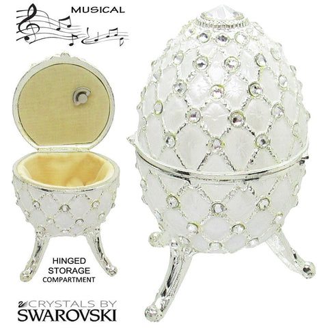Musical Jewelry and Trinket Box with Swarovski Crystals, Silver/White