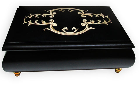 "Sorrento Music Box, 6"", Arabesque Inlay, Black"