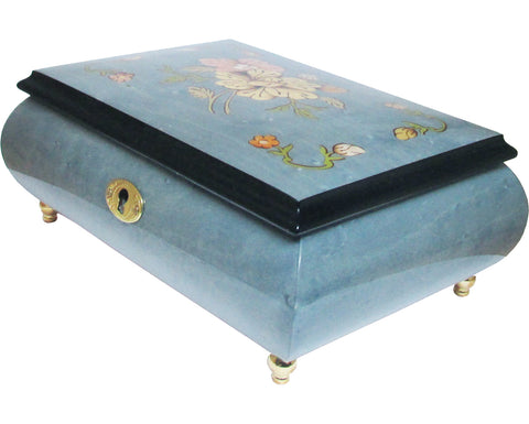 "Italian Music Box, 7"", Floral Inlay, Light Blue"