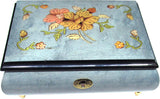"Sorrento Music Box, 7"" with Lock, Floral Inlay, Light Blue"