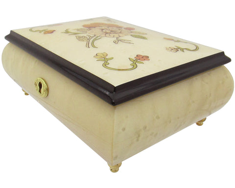 "Italian Music Box, 7"", Floral Inlay, Cream White, Sleeping Beauty"