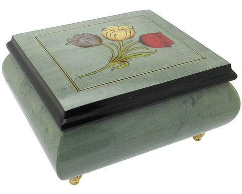 "Italian Music Box, 5"", Light Blue with Tulips Inlay"
