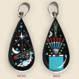 Native American Zuni Multi Stone Inlay Zodiac Teardrop Pendant
