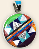 Native American Zuni Multi Stone Inlay 2 Sided Disc Shape Pendant