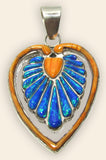 Native American Zuni Multi Stone Inlay Heart Pendant